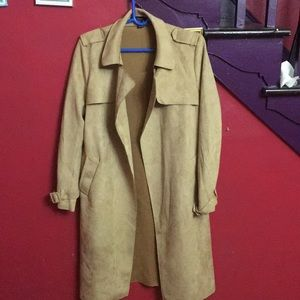 Tan Suede Long Coat (L)